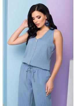 Лаконичная блуза S-209, голубой