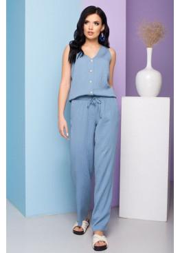 Льняные брюки S-210 прямого силуэта, голубой