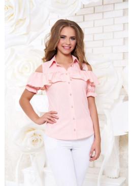 """Блуза """"Урана"""" с оголенными плечами и настрочным воланом, персик"""
