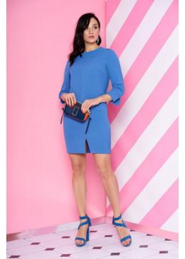 Платье S-68 с плечевыми кокетками и модельным треугольным вырезом по спинке, голубой