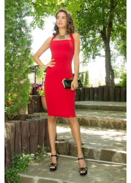 Платье S-95 облегающего силуэта с завязкой по горловине и разрезом по среднему шву, красный