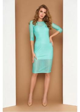 Ажурное двухслойное платье миди AZ-215, минт