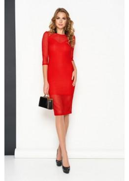 Ажурное двухслойное платье миди AZ-215, красный