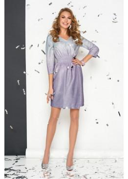 Колоритное платье на запах S-131 с блеском, сиреневый