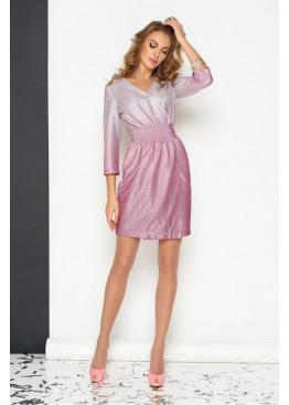 Колоритное платье на запах S-131 с блеском, бордо