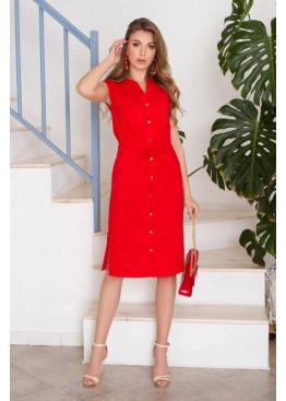 Красное льняное платье AZ-268 с четырьмя накладными карманами по переду
