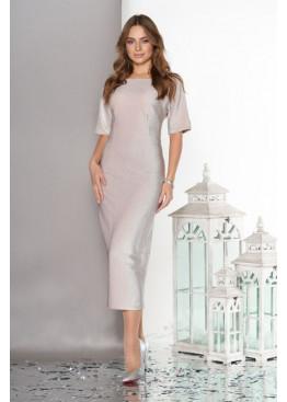 Вечернее платье с ложным запахом по спинке, беж