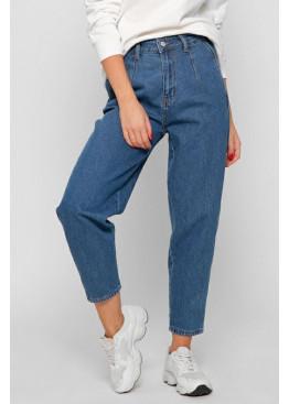 Стильные мом джинсы с высокой посадкой, синие