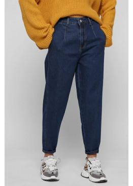 Стильные мом джинсы с высокой посадкой, темно-синие