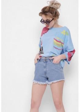 Джинсовые шорты с потертостями, синий