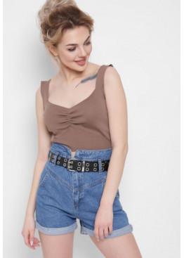 Стильные джинсовые шорты прямого силуэта, синие