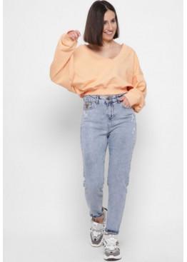 Стильные мом джинсы заужены к низу, голубой