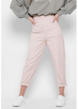 Стильные мом джинсы с высокой посадкой, заужены к низу, беж