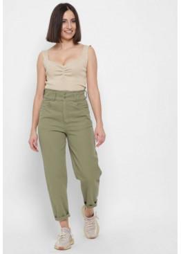 Стильные мом джинсы с высокой посадкой, заужены к низу, оливка