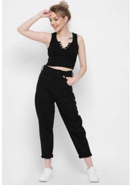 Стильные мом джинсы с высокой посадкой, заужены к низу, черный