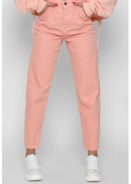 Стильные мом джинсы с высокой посадкой, персик