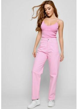 Розовые джинсы релаксы с высокой посадкой