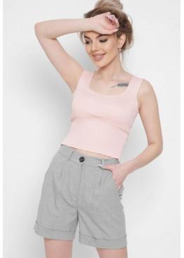 Женские шорты прямого фасона из вискозной ткани, серые