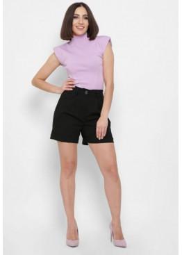 Женские шорты прямого фасона из вискозной ткани, черные