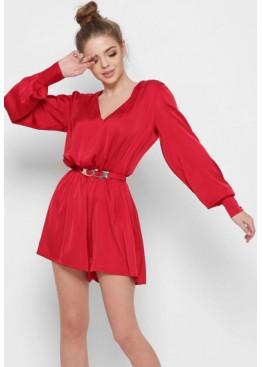 Шелковый комбинезон-шорты, красный