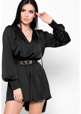 Шелковый комбинезон-шорты, черный