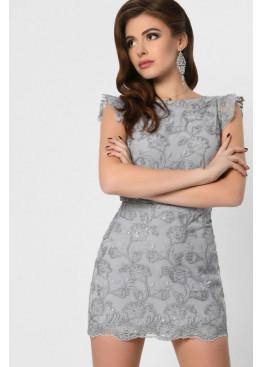 Платье-комбинезон мини длины с вышивкой, серое