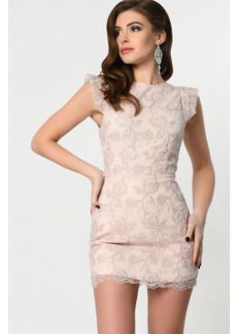 Платье-комбинезон мини длины с вышивкой, пудра