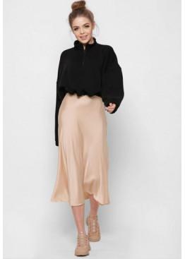 Шелковая юбка-миди с высокой посадкой, беж