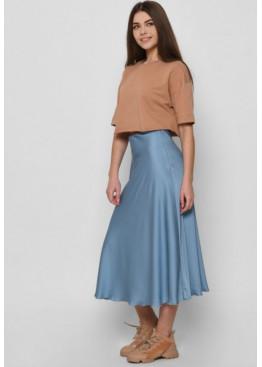 Шелковая юбка-миди с высокой посадкой, голубая