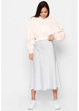 Шелковая юбка-миди с высокой посадкой, светло-голубая