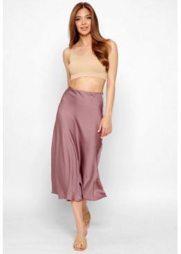 Шелковая юбка-миди с высокой посадкой, темный лиловый