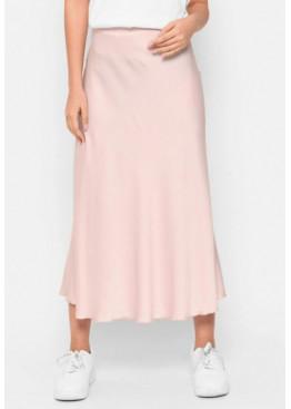 Шелковая юбка-миди с высокой посадкой, пудра