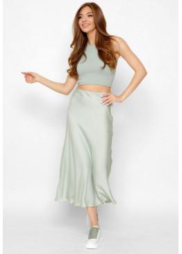Шелковая юбка-миди с высокой посадкой, оливка