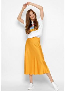 Шелковая юбка-миди с высокой посадкой, манго