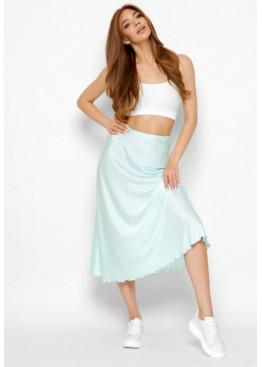 Шелковая юбка-миди с высокой посадкой, мята