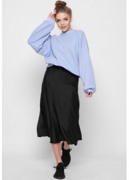 Шелковая юбка-миди с высокой посадкой, черная