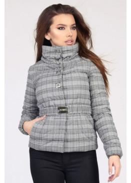 Короткая куртка в клетку из плащевой ткани