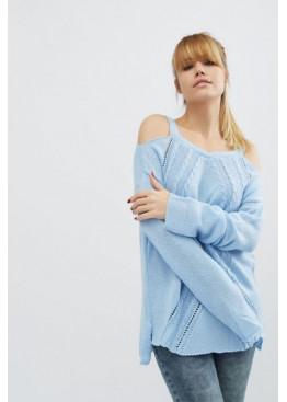 Однотонный вязаный свитер с открытыми плечами