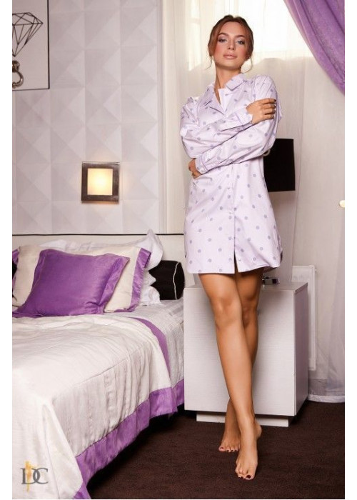 Пижама-рубашка, светло-сиреневая в модный горох