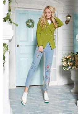 Оригинальный пиджак в стиле Balmain, оливковый