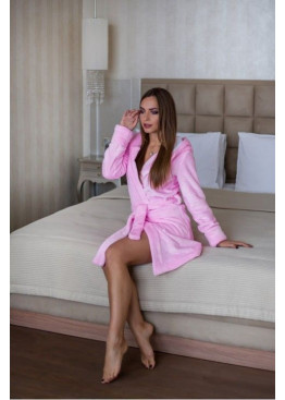 Халат махровый розовый