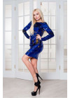 Роскошное коктейльное платье мини в пайетки-хамелеон сине-золотистого цвета