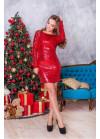 Роскошное коктейльное платье мини в пайетки-хамелеон красного цвета
