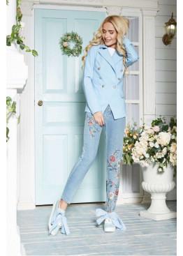 Оригинальный пиджак в стиле Balmain, голубой