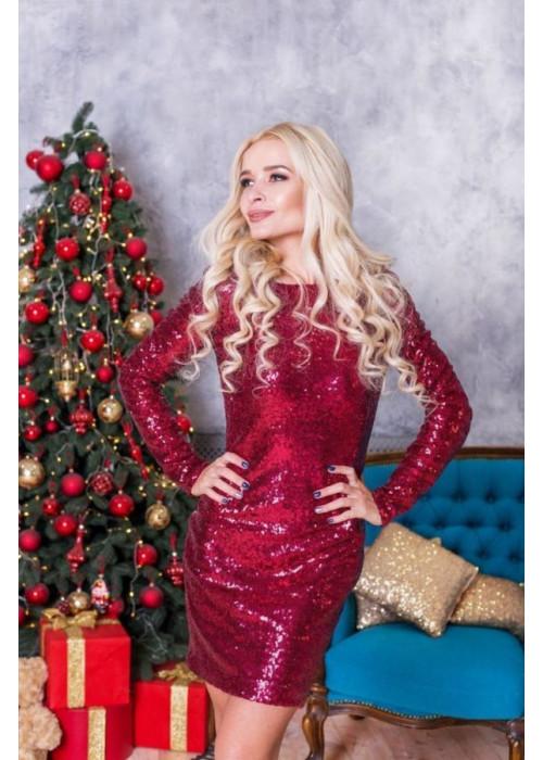 Роскошное коктейльное платье мини в пайетки-хамелеон бордового цвета