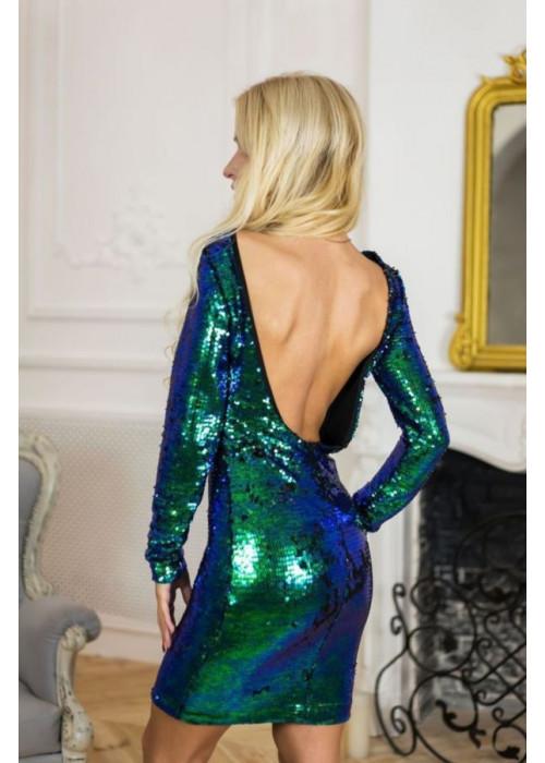 Роскошное коктейльное платье мини в пайетки-хамелеон сине-зелёного цвета