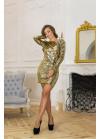 Роскошное коктейльное платье мини в пайетки-хамелеон золотистого цвета