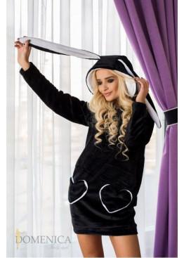 Уютное яркое платье Зайка, черный