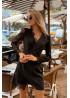 Асимметричное чёрное платье с кружевом