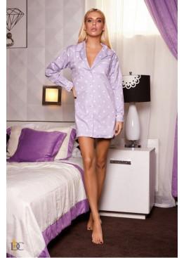 Пижама-рубашка, сиреневая в белый горох
